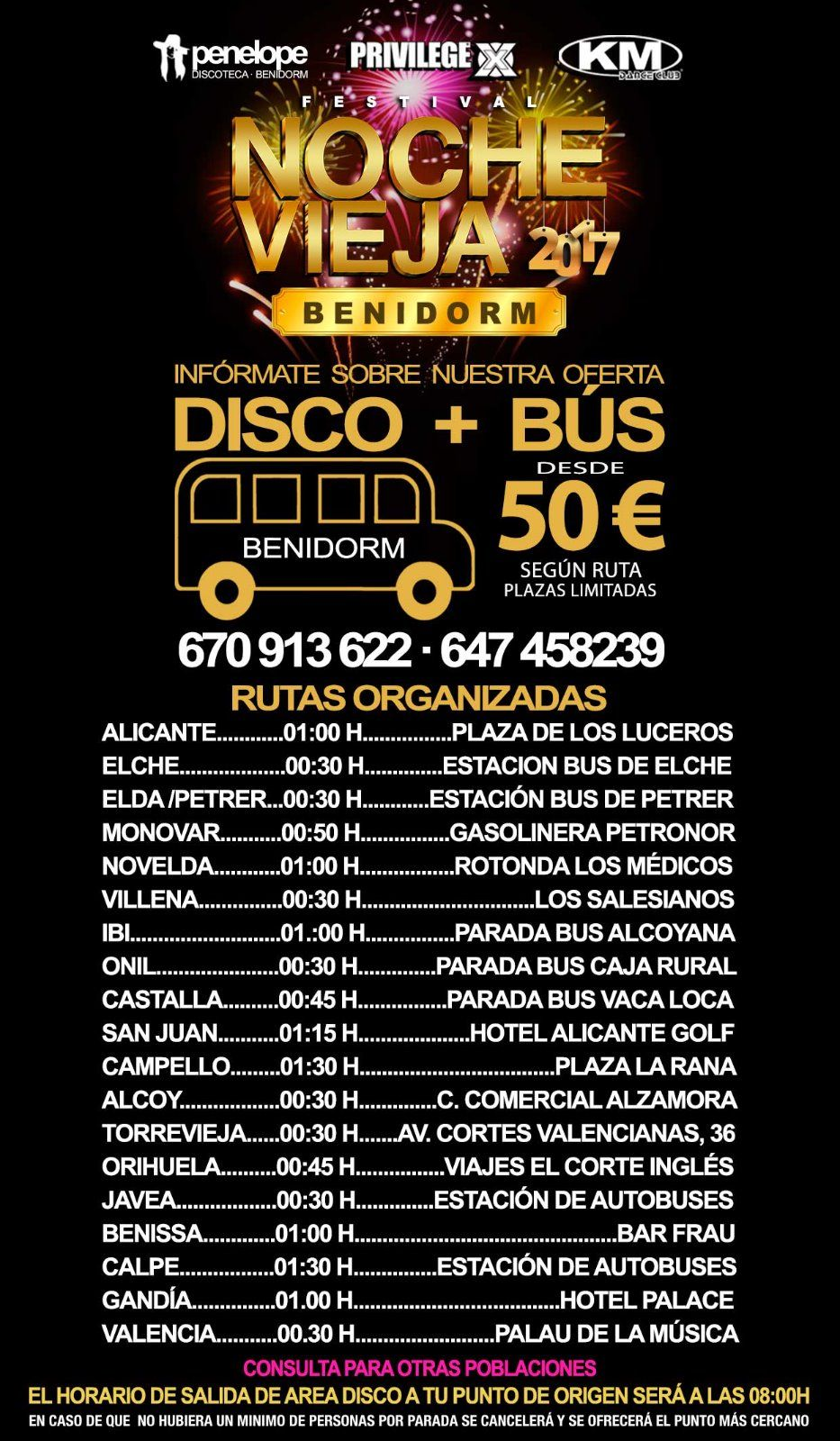 bus nochevieja benidorm 2017, Area Disco