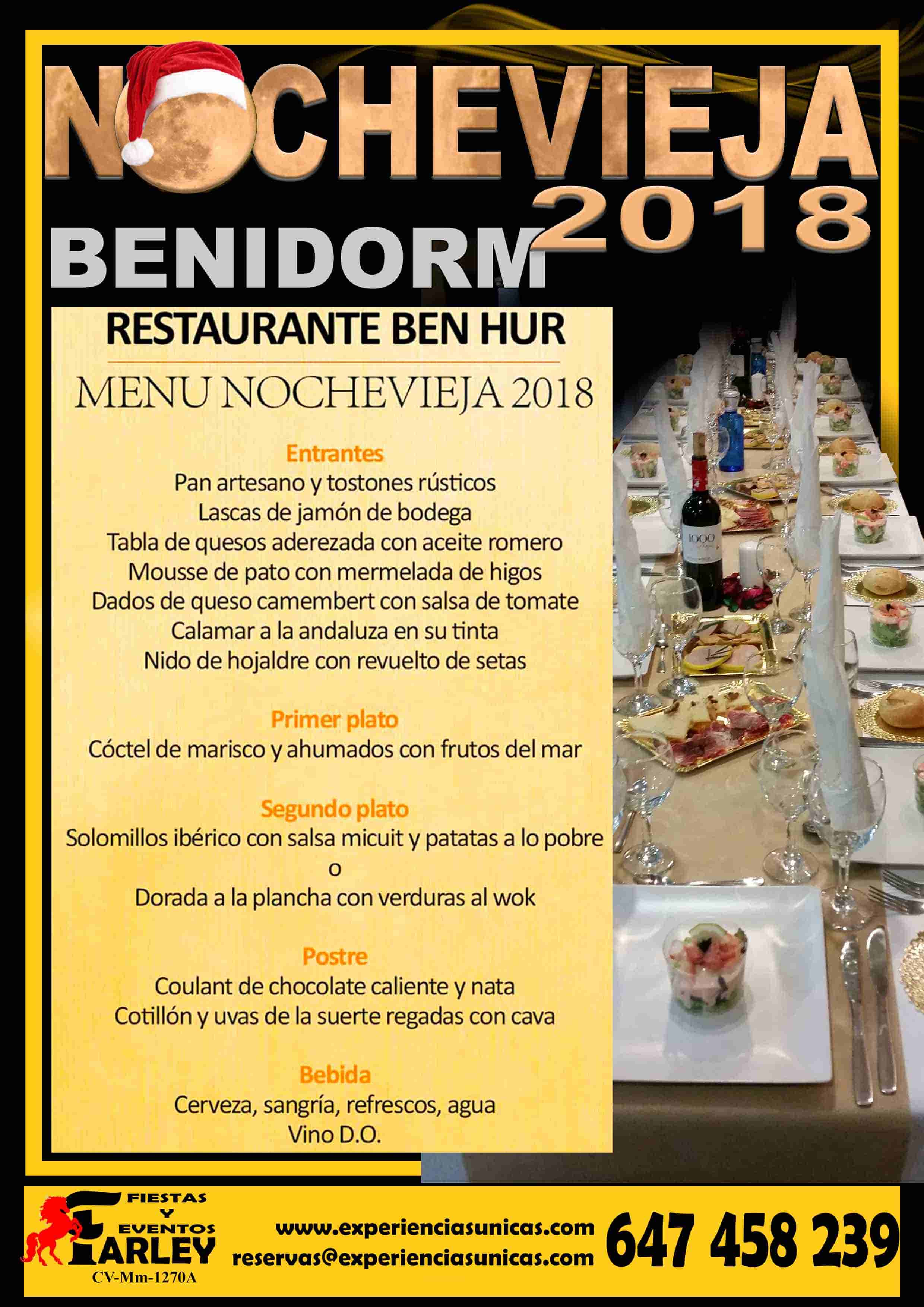 Restaurante Ben Hur Benidorm menu nochevieja