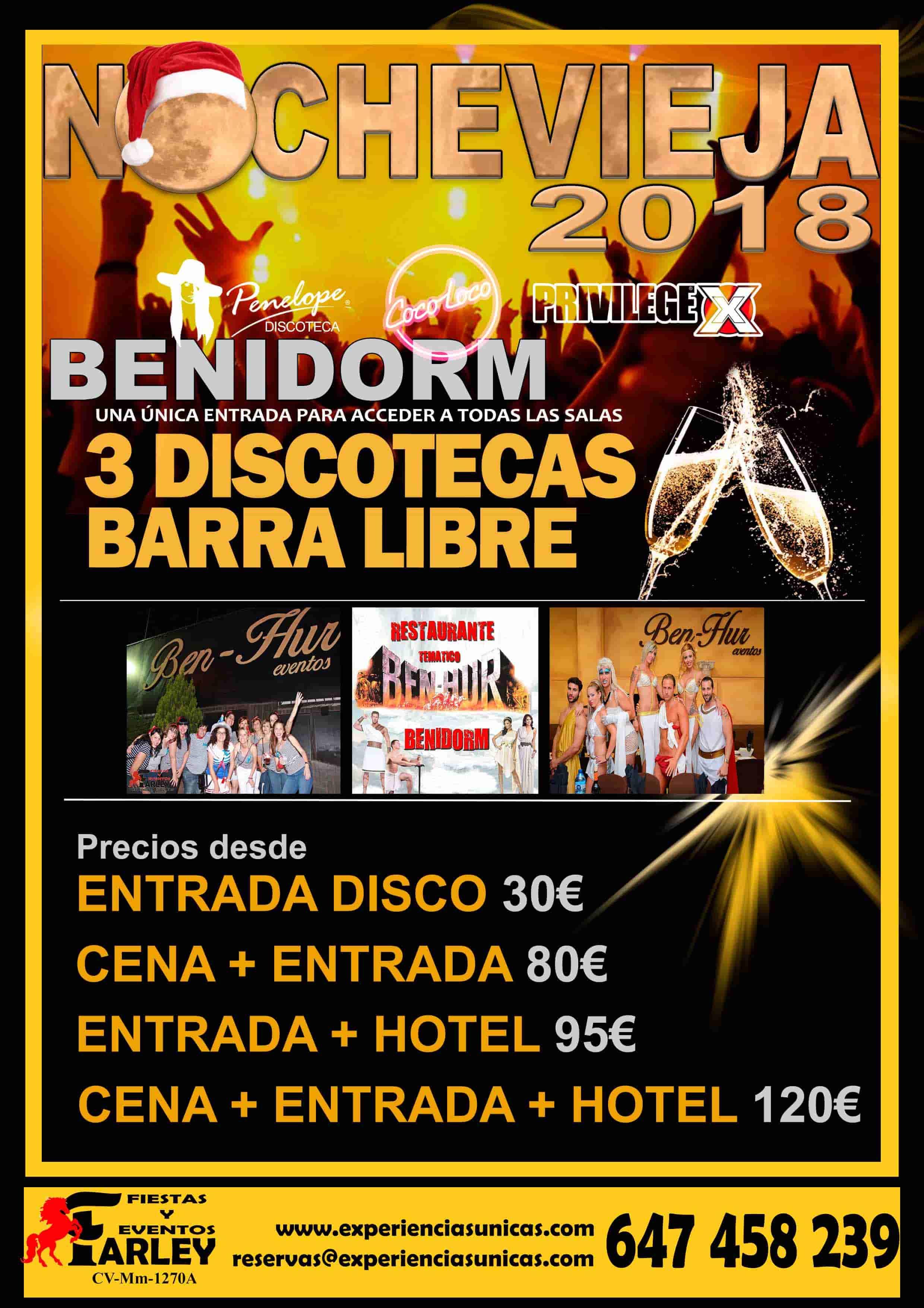 nochevieja Benidorm 2018 Agencia Farley