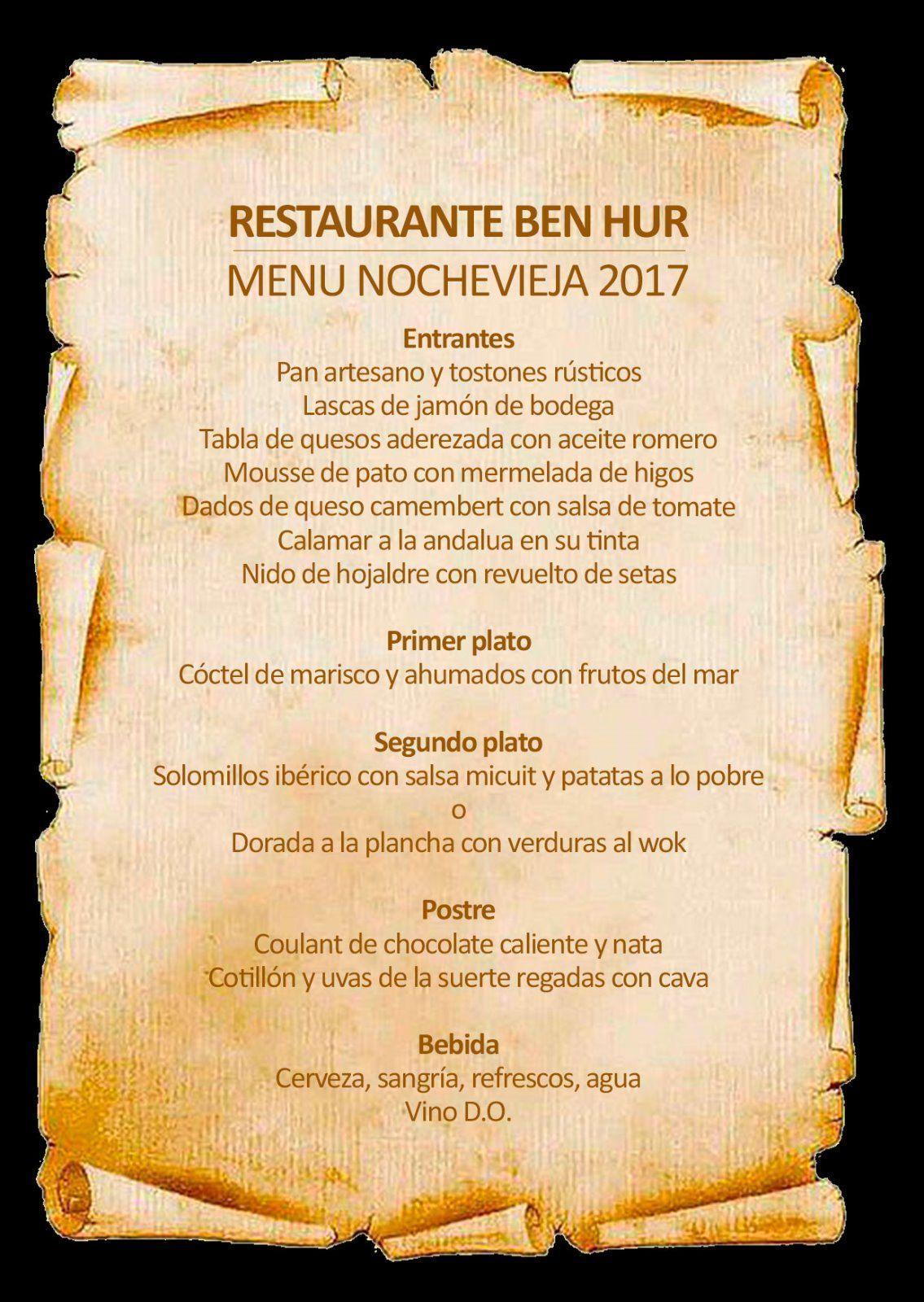 menu ben-hur nochevieja 2017, benidorm