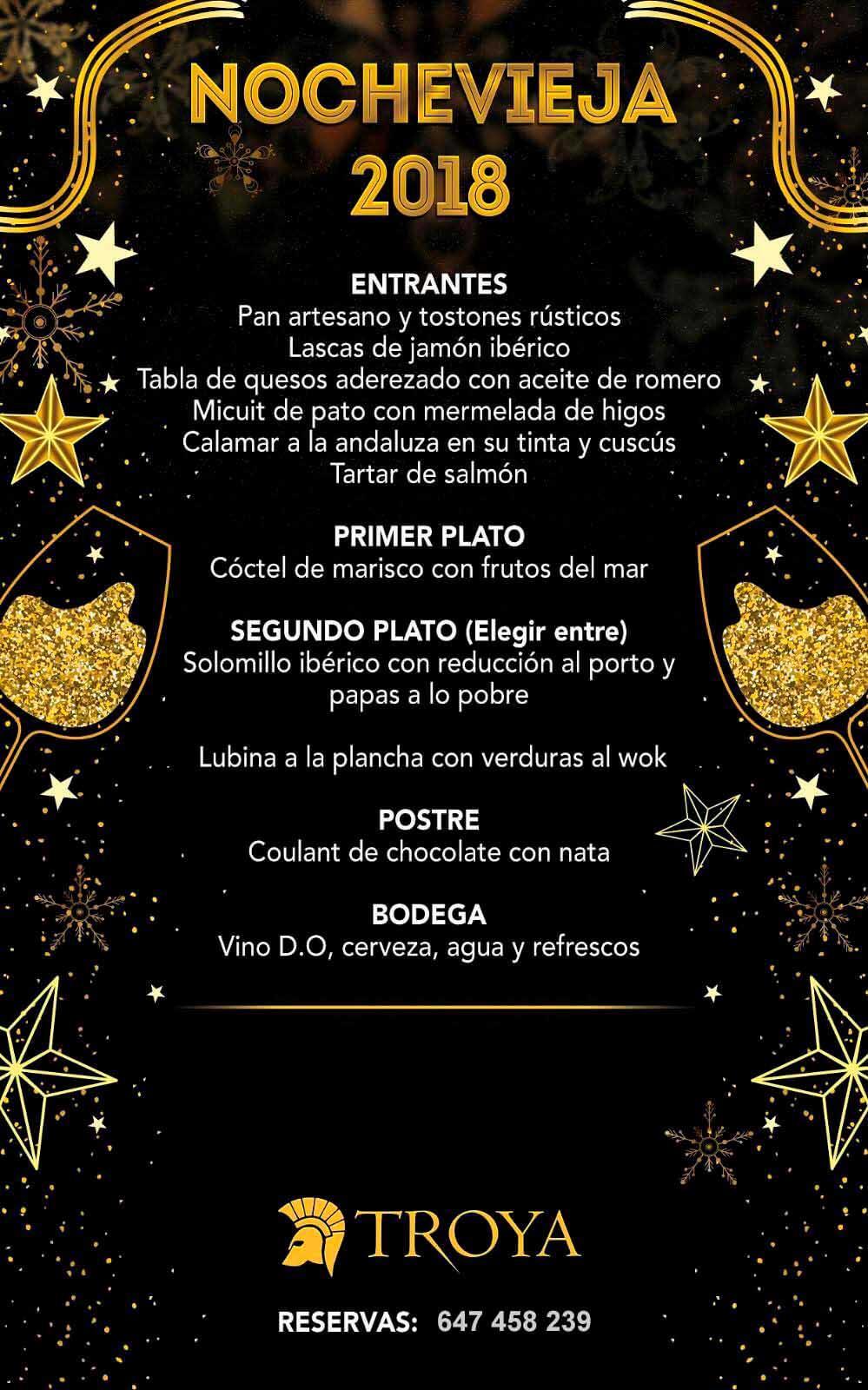 menu fin de año Restaurante Troya Murcia 2018