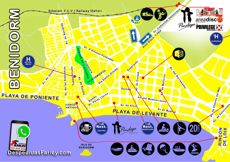 mapa de actividades Benidorm Despedidas Farley