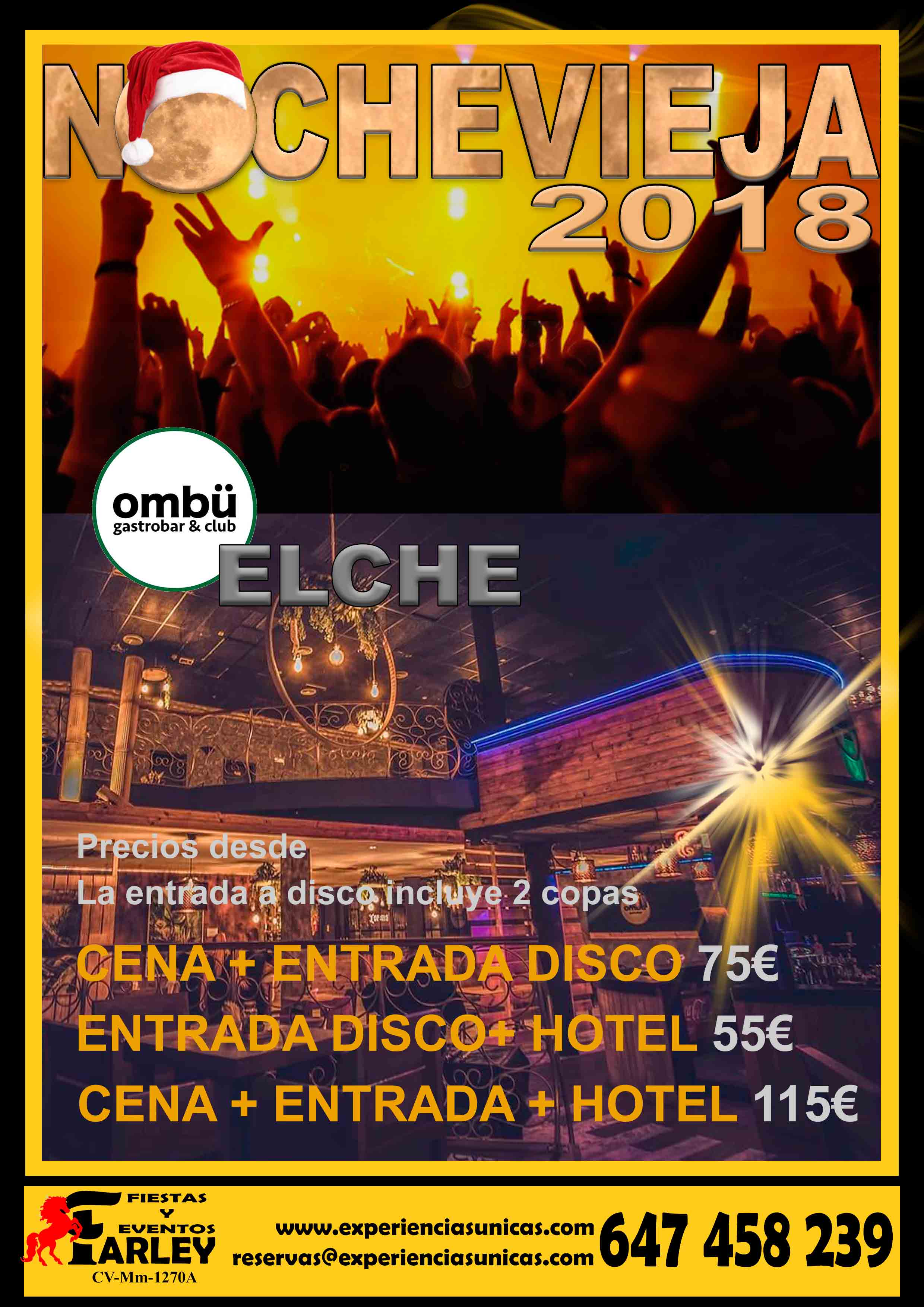 Fiesta fin de año en Elche ombü
