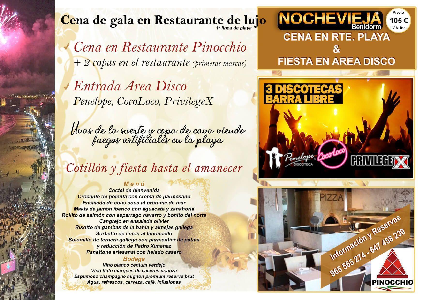 cena en Restaurante Pinocchio y entrada Area Disco Benidorm